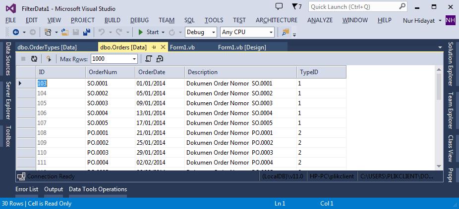 Filter Pengambilan Data Menggunakan Tanggal dan Karakter di VB.net