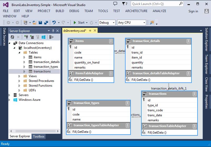 Aplikasi Inventory Sederhana - Data Access Layer Create Dataset