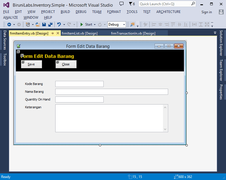 Aplikasi Inventory Sederhana Desain User Interface Visual Inheritance